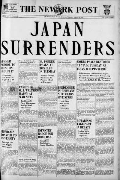 Out of the attic: Newark Post reports Japanese surrender
