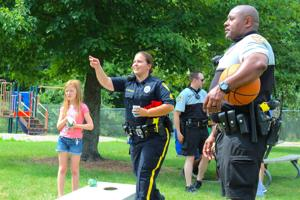 Newark Police officers play games, spend time with community kids