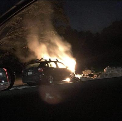 Car hits wall near Moseley Pines, bursts into flames
