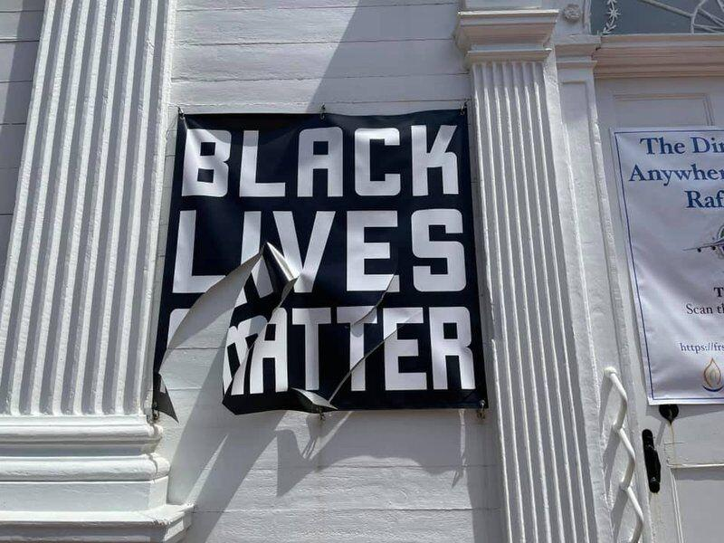 """""""Black Lives Matter"""" Sign Hanging Outside Massachusetts Church Vandalized"""