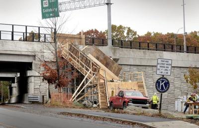 Stairway to Whittier Bridge going up in Amesbury