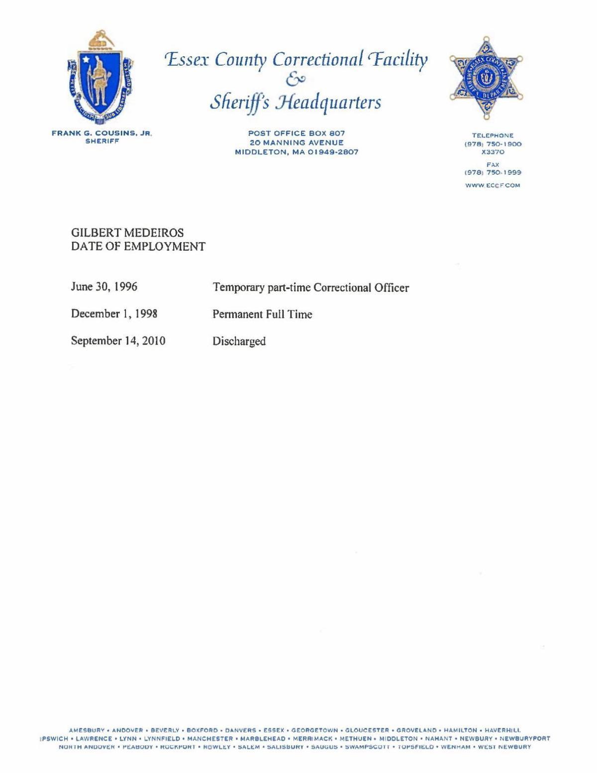 Sheriff dept's discipline records on Gilbert Medeiros   News
