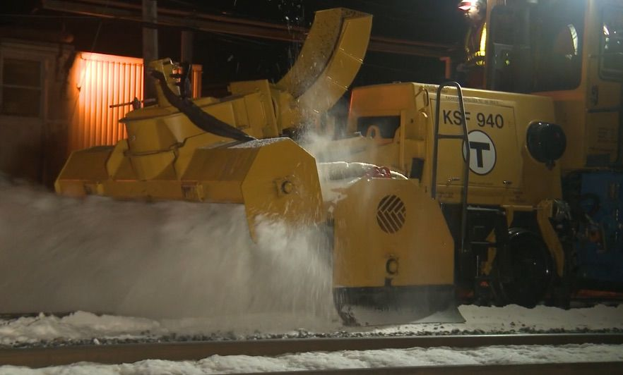 Crews clearing ice, snow off Newburyport and Rockport rail line