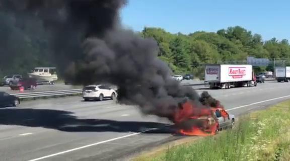 Interstate 95 north car fire
