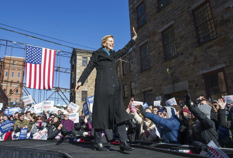 Off and running: Warren launches presidential bid in Lawrence