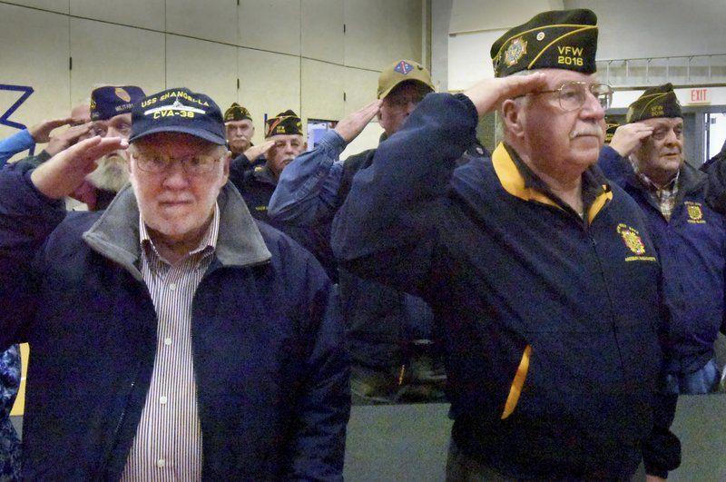 Students pledge allegiance, salute veterans