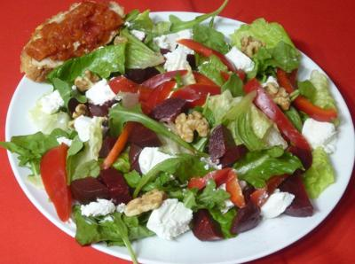 Try beet and goat cheese salad for a tasty vegetarian meal