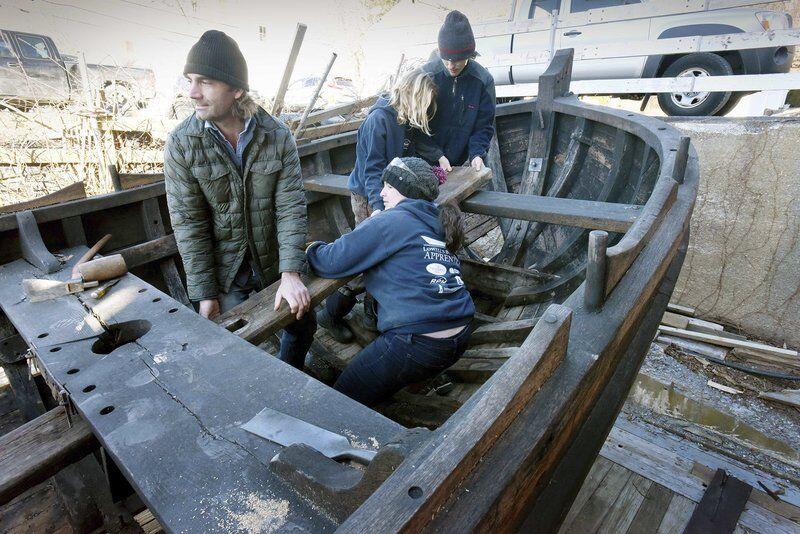 Restored Mayflower companion vessel leaving Amesbury for Gloucester