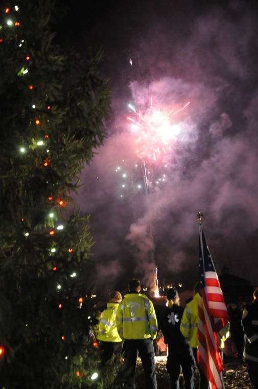 Fireworks at the tree lighting