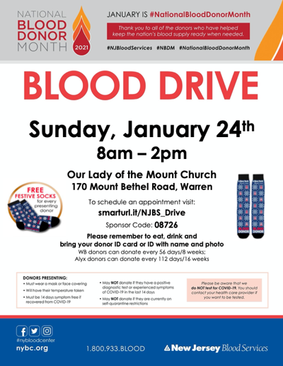 Our Lady of the Mount Church to host Jan. 24 blood drive in Warren