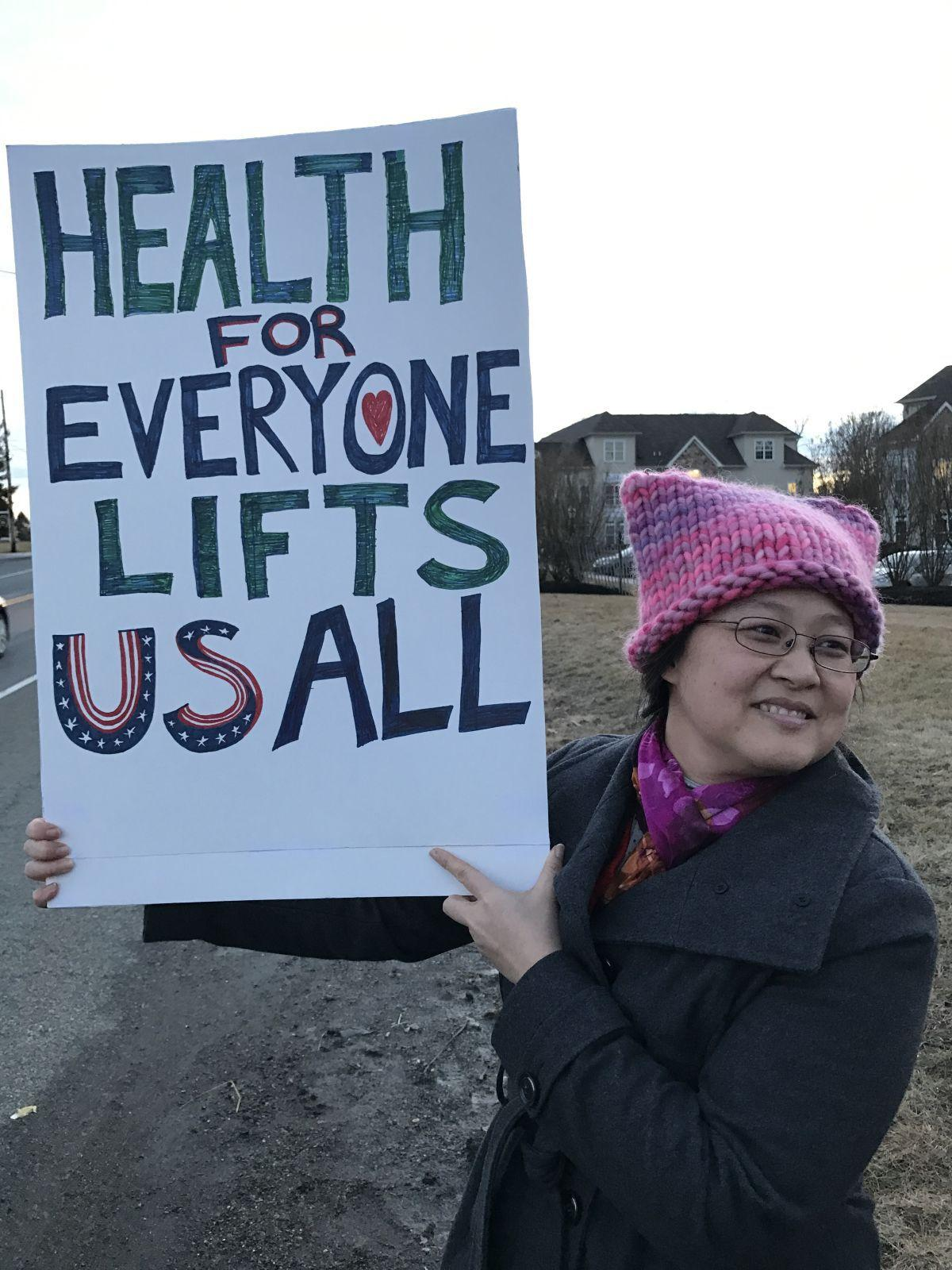 Rally for Affordable Care Act gathers outside Lance's Flemington office
