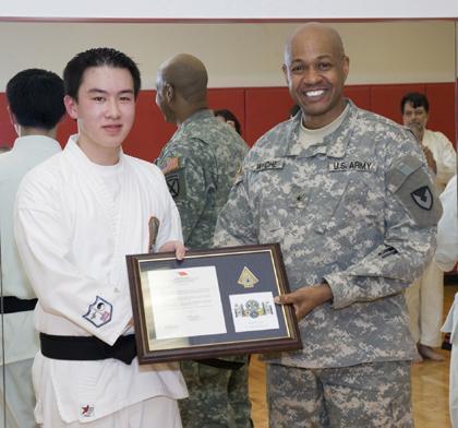 Karate student wins 'general' praise for his black belt