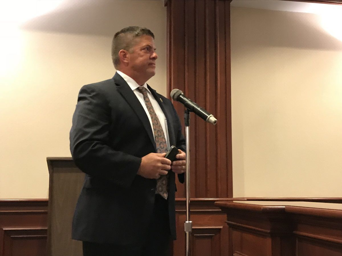 Police Chief Steven Hennelly addresses the Township