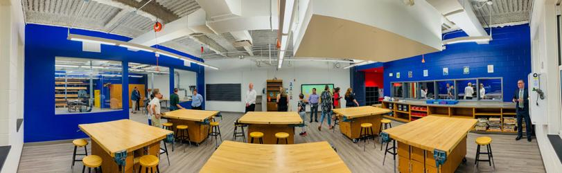 A panoramic view of the new STEM lab at Valley View Middle School.