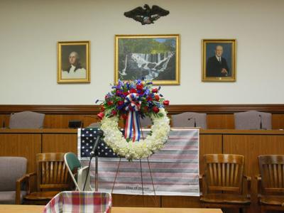 Watchung 9/11 memorial ceremony wreath