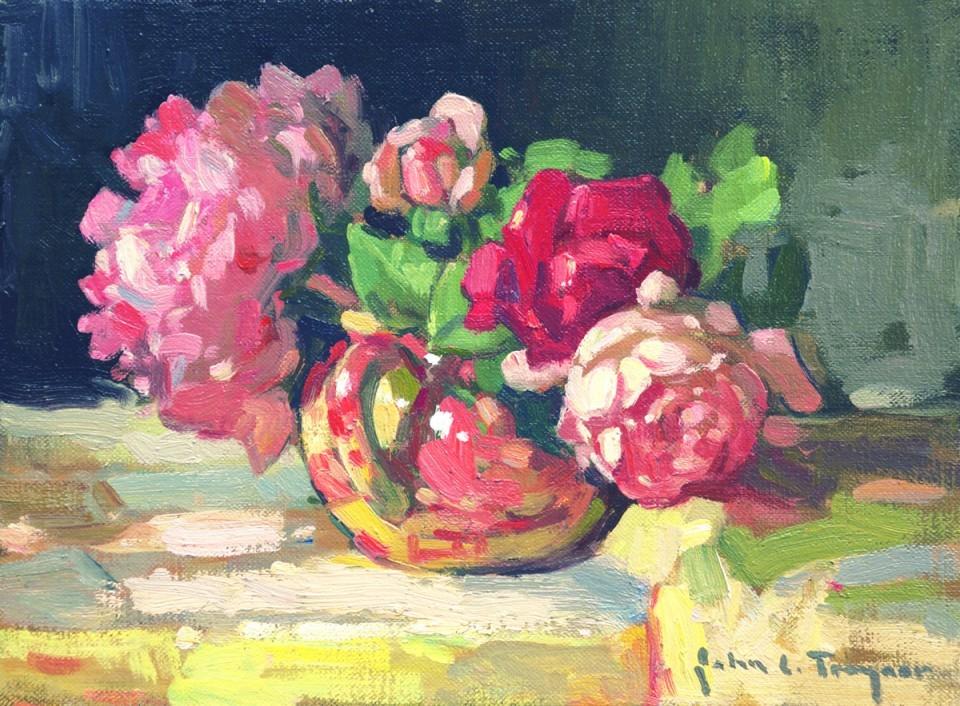 """""""Flowers in Sugar Bowl,""""  9"""" x 12""""  by John C. Traynor"""