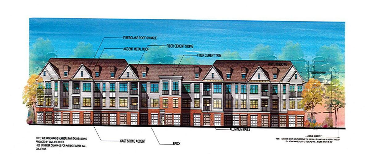 Architectural renderings of the back side of buildings four and five