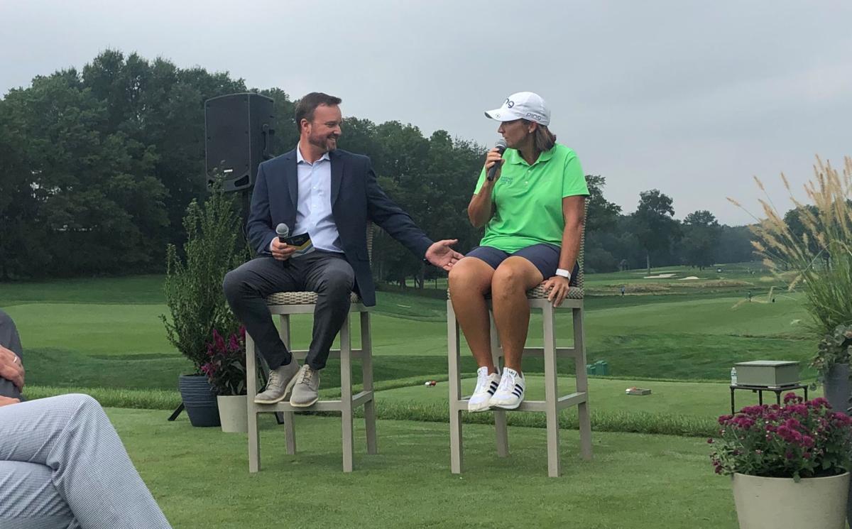 Interviewing golf star