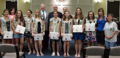 Girl Scout SilverAward winners honored by Hanover Township Committee