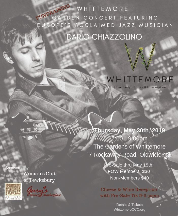 Whittemore to present Dario Chiazzolino at fundraising concert on Thursday, May 30