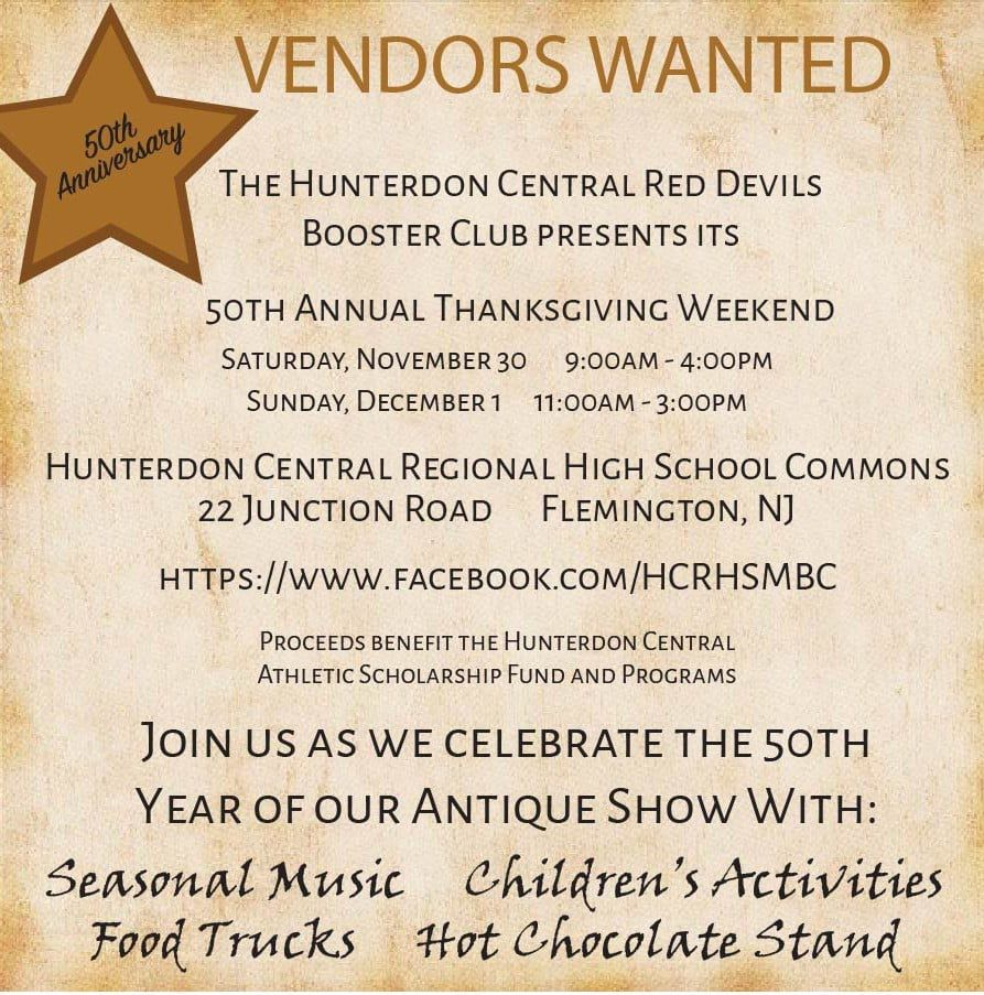Hunterdon Central Red Devils Booster Club will host antiques show Thanksgiving Weekend