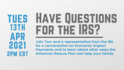 Rep. Malinowski will host virtual conversation on IRS, American Rescue Plan on Tuesday, April 13