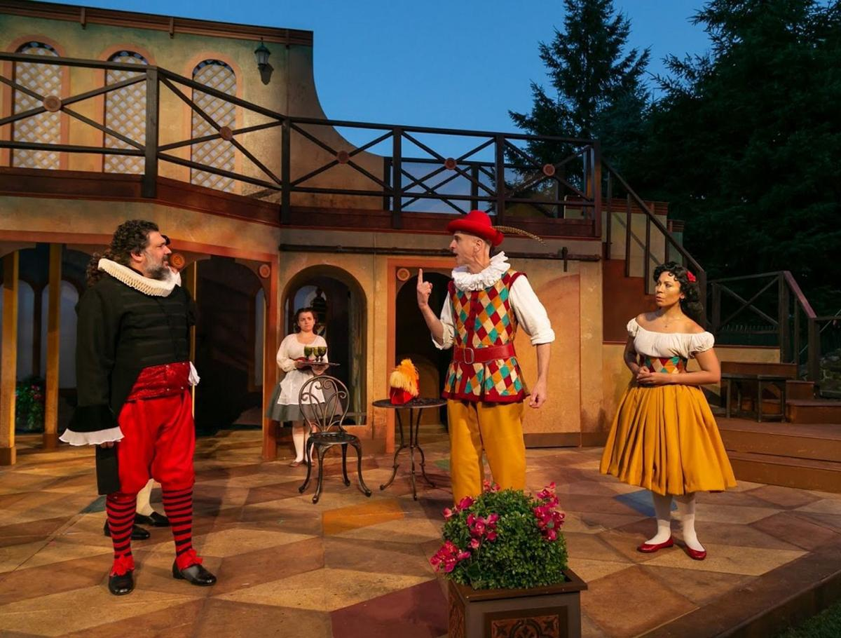 Shakespeare Theatre staging slapstick comedy outdoors