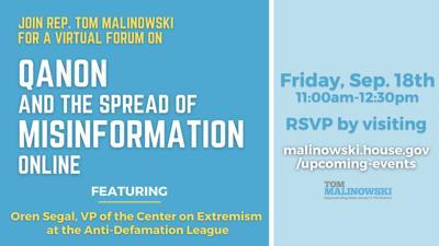 Rep. Malinowski to host virtual forum on QAnon conspiracy theory, misinformation spread, on Friday, Sept, 18