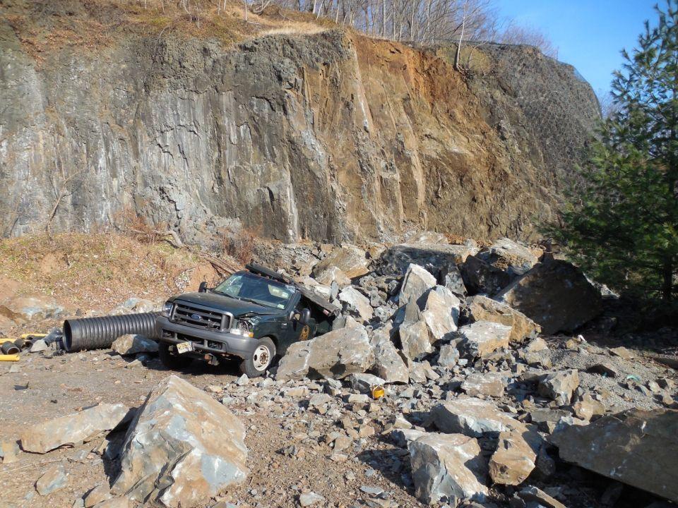 Boulders hit a truck