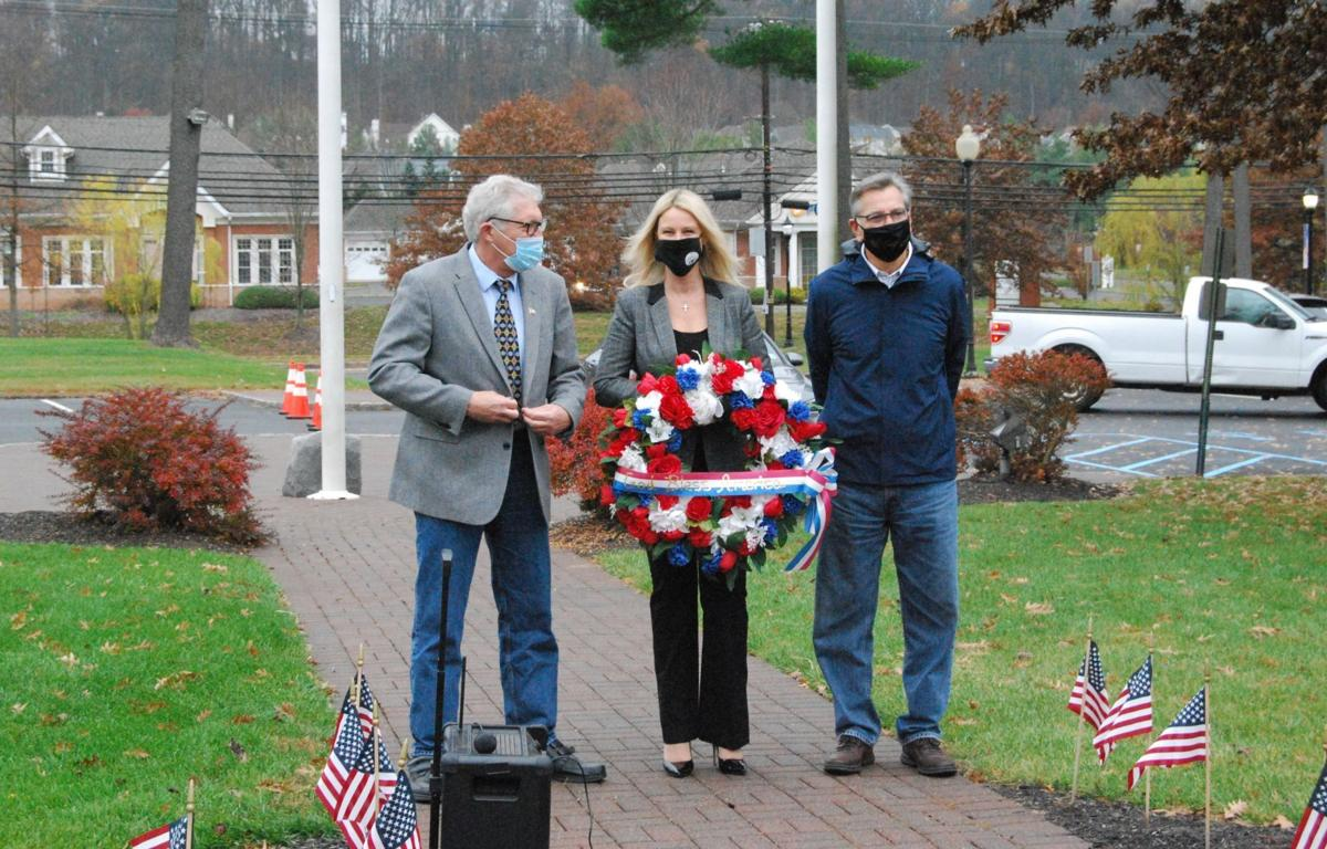 Preparing to place the Veterans Day wreath