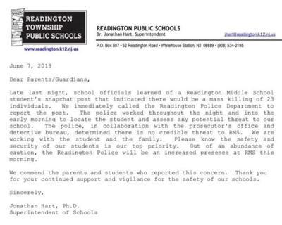 Readington Middle School receives phony threat of mass killing, superintendent says