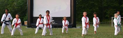 Gillette karate school shows off moves before movie