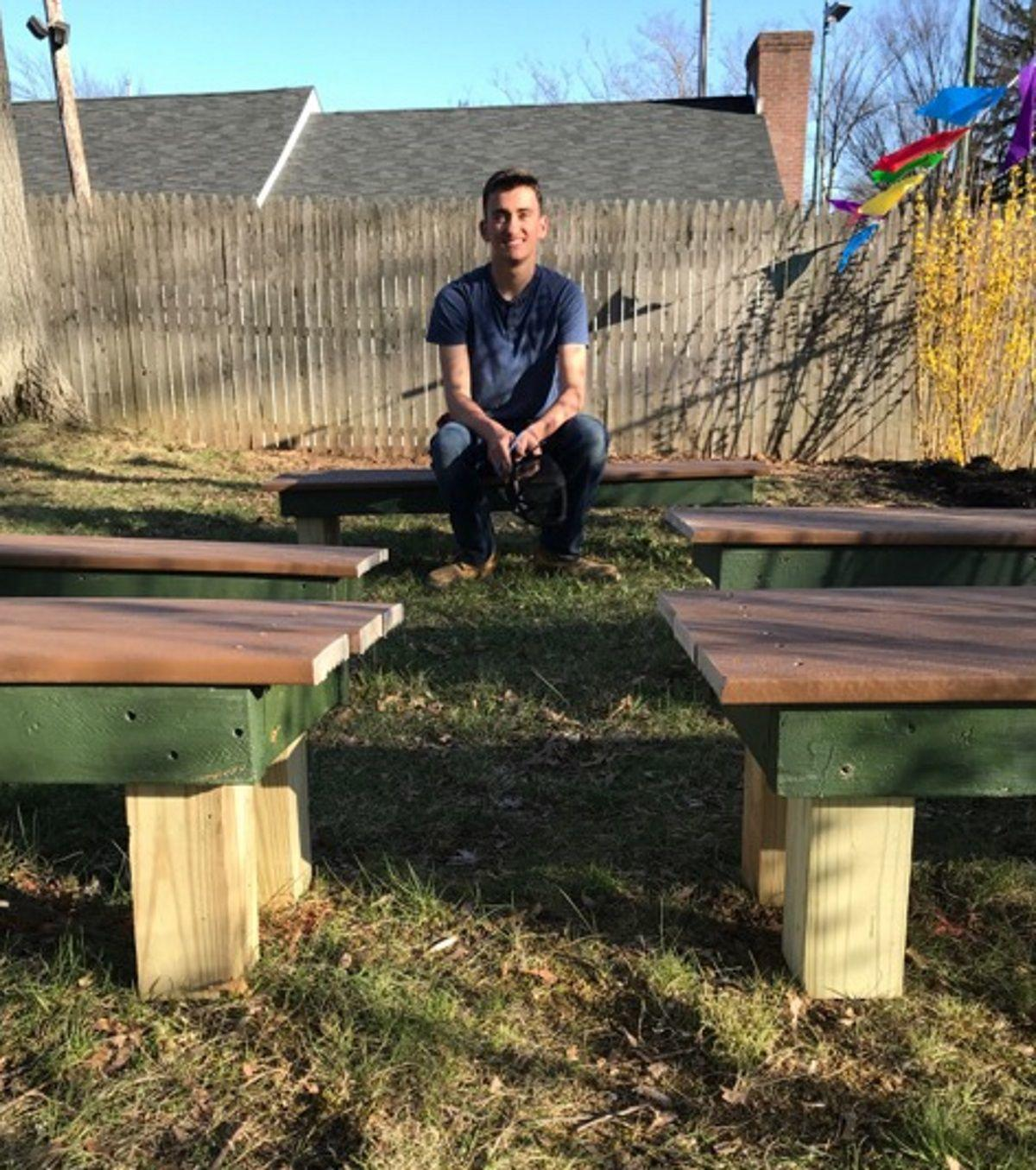 matthew cantale of mendham an eagle scout candidate is with the outdoor learning center he designed and built for the mendham co operative nursery school - Mendham Garden Center