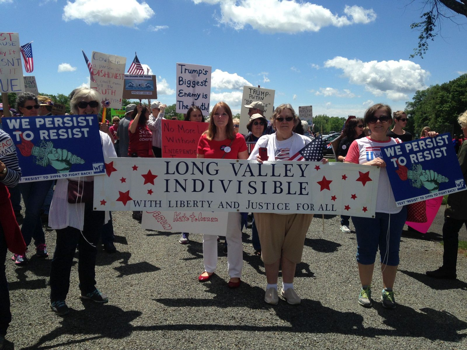 "The Long Valley contingent of ""Indivisible"" joined in the March for Truth on Saturday, From left, are Ellen Collins of Long Valley, Marin Martin of Hackettstown, and Carol Shinnerling and Brenda Sheeder, both of Long Valley."