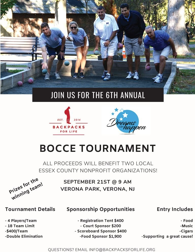 Backpacks For Life 6th Annual Bocce Tournament