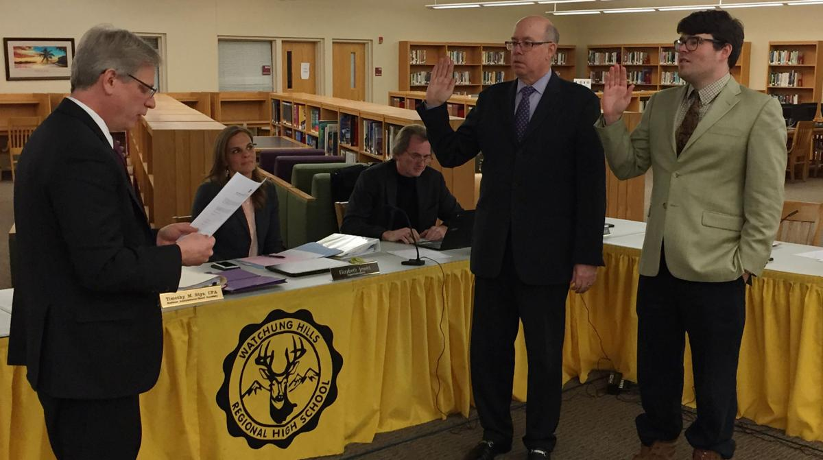 Being sworn into the 2017 Watchung Hills Board