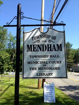 Mendham Township Town Hall sign