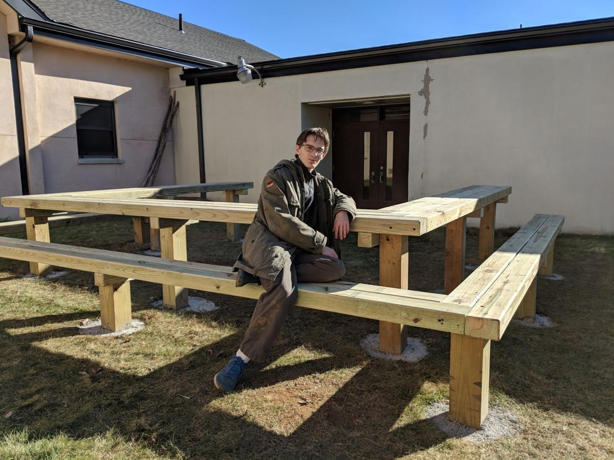 Lebanon Township Eagle Scout gifts Valley View School outdoor classroom