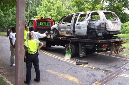 No one hurt in Bernards Township car fire