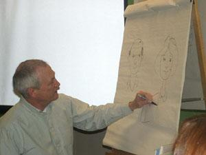 An illustrating visitor to Forest Avenue School