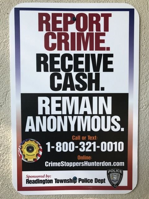 Hunterdon County Crime Stoppers post tip reminders signs