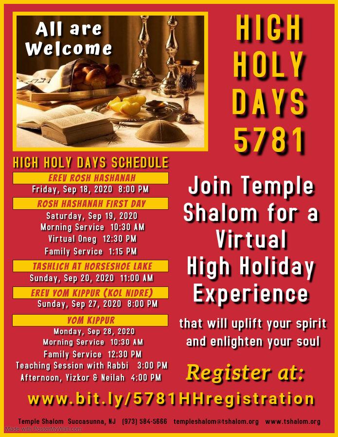 Temple Shalom Virtual High Holy Days 5781