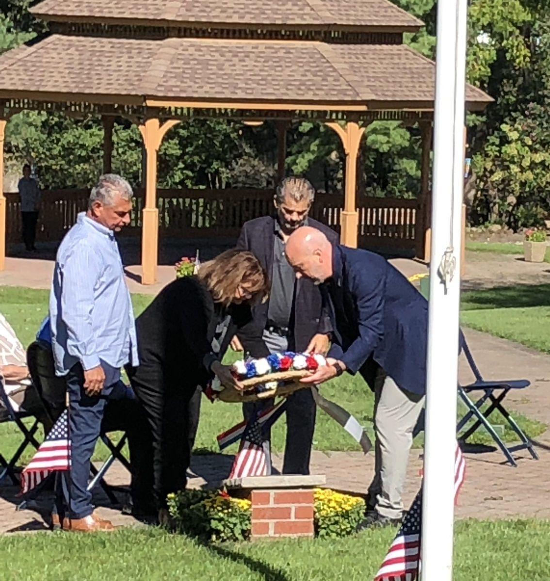Wreath at memorial