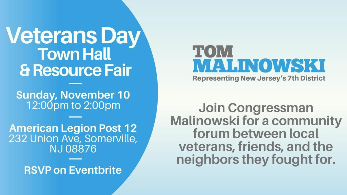 Rep. Malinowksi to hold Veteran's Day town hall on Sunday, Nov. 10, in Somerville