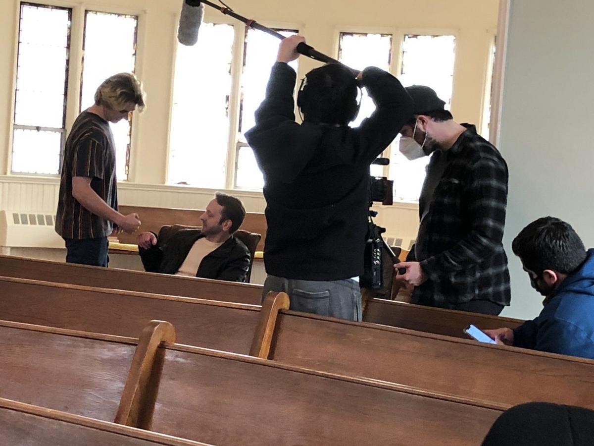 Filming in church