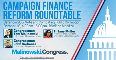 Rep. Malinowski to host virtual campaign finance reform roundtable on Sunday, Oct. 18
