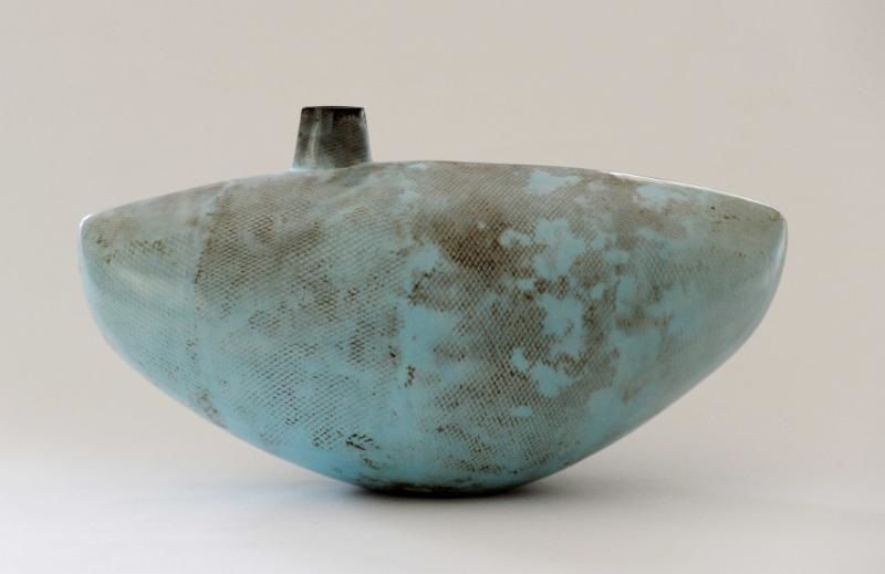 Alison Kay: Wide Blue Vessel with Off Centre Opening. 2016.