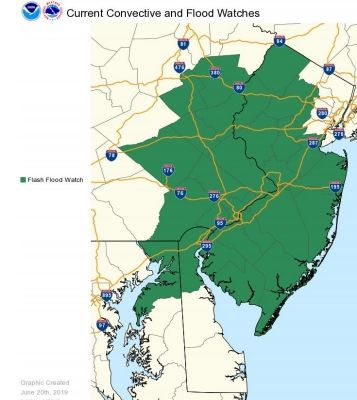 Flash Flood Watch remains in effect for Hunterdon area for Thursday, June 20
