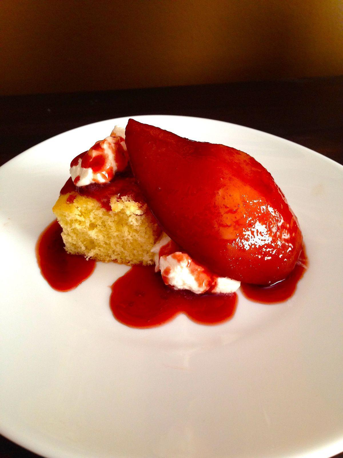 FRESH OFF THE FARM: Poached pears with a Victoria sponge cake by Claire Nines