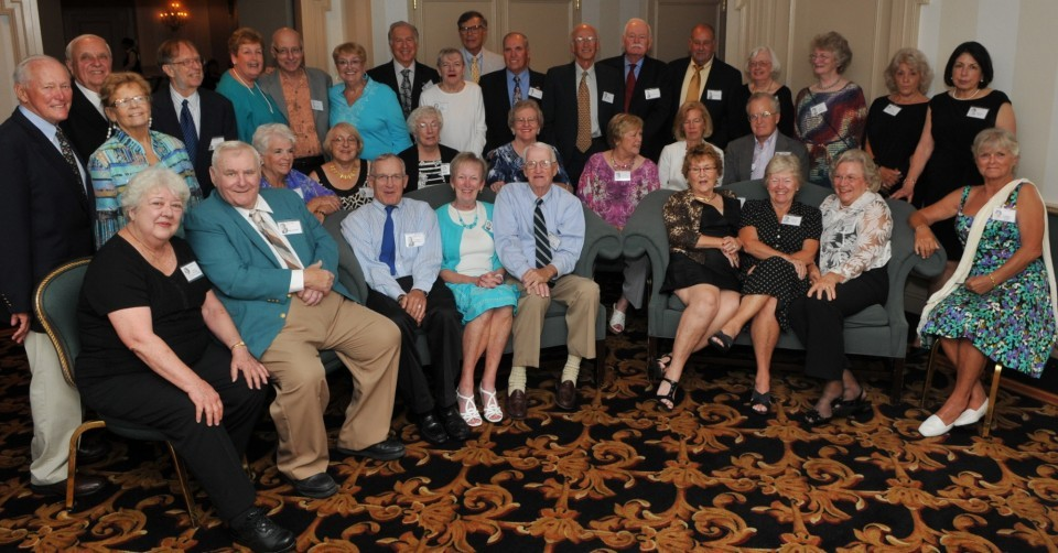 The attendees of the Bernards High School class of 1957 reunion at the Somerset Hills Hotel in Warren Township on Saturday, Aug. 4, posed for an updated class picture.
